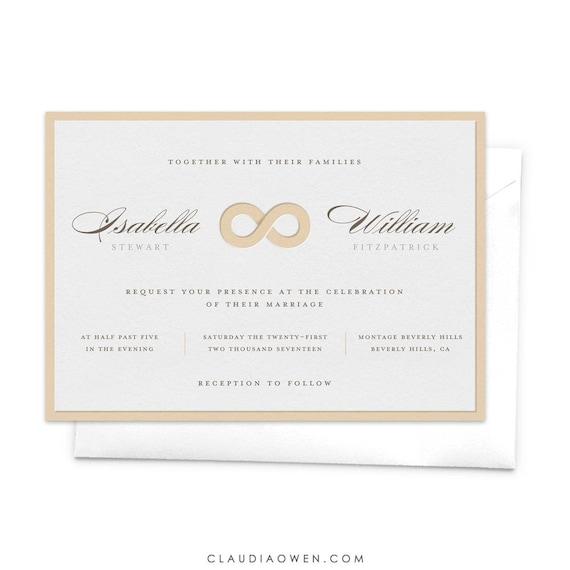 Infinity Symbol Wedding Invitation Elegant Invitation Romantic Etsy