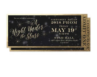 Prom Ticket A Night Under the Stars Starry Night High School Prom Senior Prom Night Sky Gold Stars Homecoming Admit One Year 12 Formal