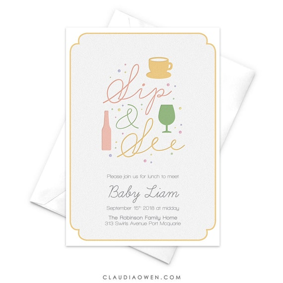 Sip And See Party Invitation New Baby Introducing Baby Birth Etsy