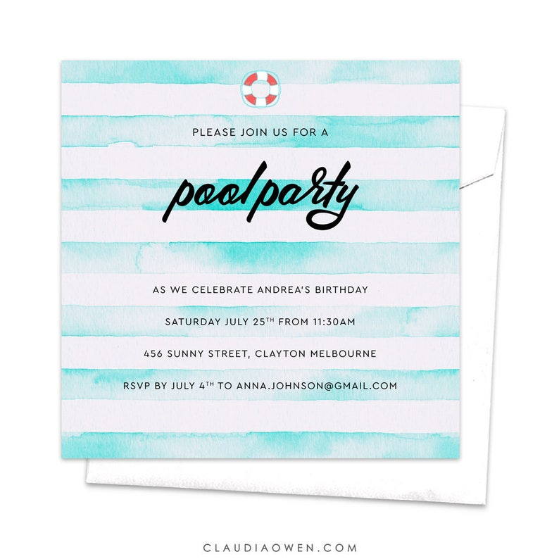 Pool Party Invitation Children/'s Party Floatie Summer Party Watercolor Stripes Design Swimming Pool Kid/'s Party Invites