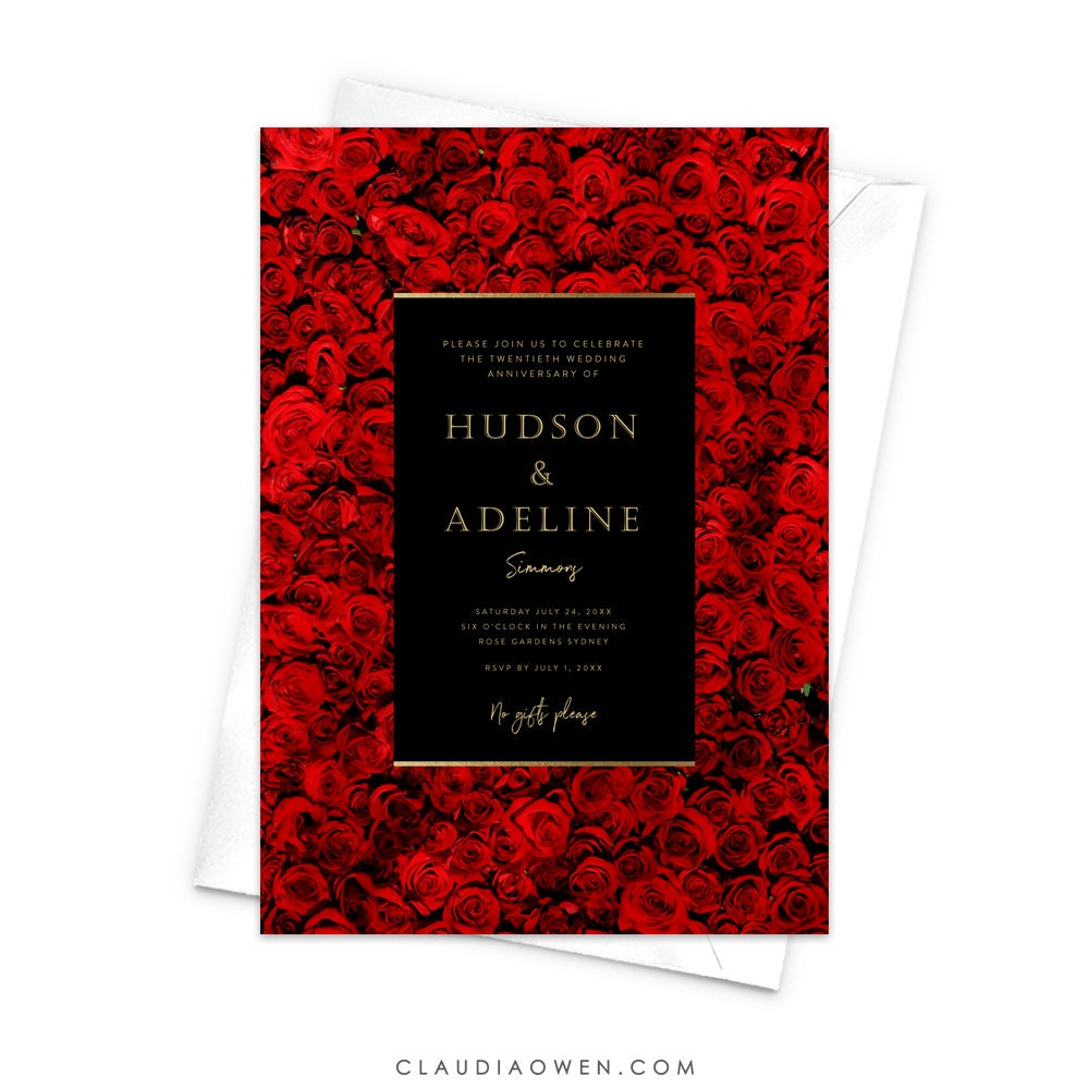 Red Roses Invitation Wedding Anniversary Rose Wall Floral