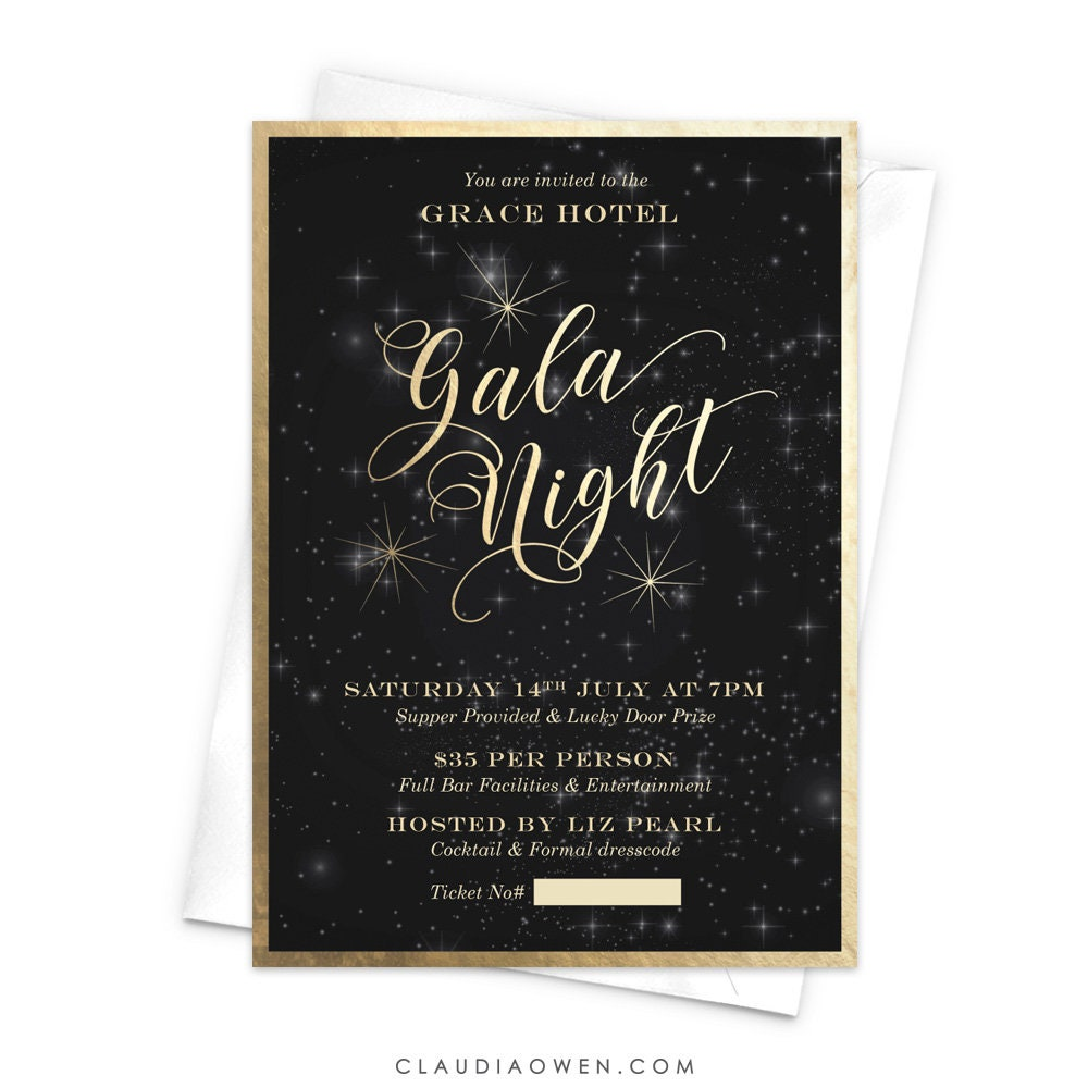 gala night invitation night sky gala invites gold stars