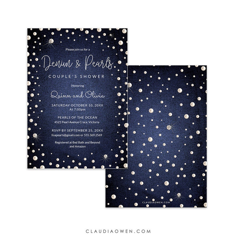 Denim and Pearls Invitation Edit Yourself Template Shiny Pearl Invites Digital Download Couple/'s Shower Denim Party Event Program Flyer