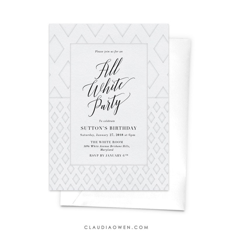 All White Party Invitation White Themed White Party Etsy