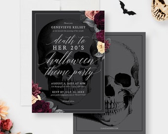 Death to My 20's Halloween Theme Party Invitation Editable Template, RIP 20's 30th Birthday Digital Download, Skull With Flowers