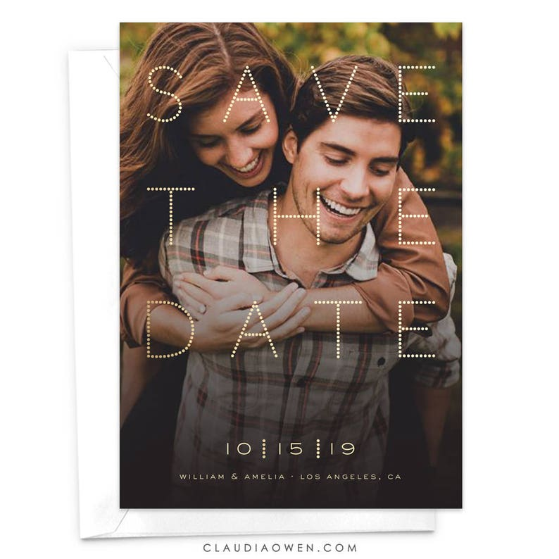 Modern Save The Date Cards Photo Save The Date Typographic Photo Card Minimalist Design Elegant Dots Dotty Engagement Invitation