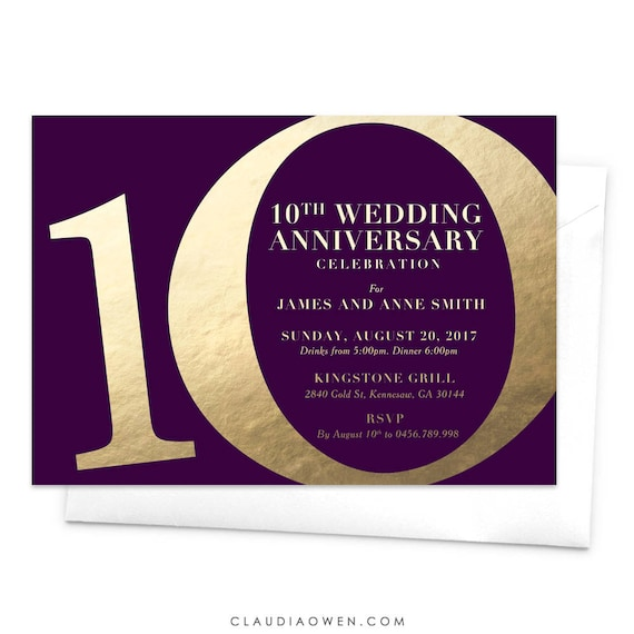 10th Wedding Anniversary Party Ideas: 10th Wedding Anniversary Invitation Anniversary Party