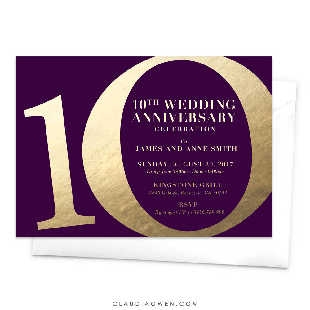 10 Year Wedding Anniversary Invitations: 10th Wedding Anniversary Invitation Anniversary Party