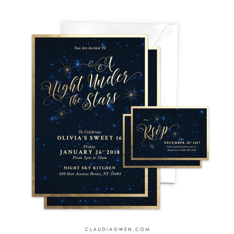Sweet 16 Party Invitation A Night Under The Stars Matching