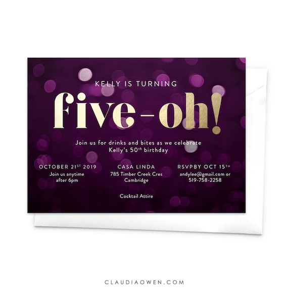 Five Oh Invitation Birthday Party 50th