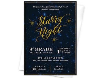 Prom Invitation, Starry Night, High School Prom Invites, Senior Prom Invites, Night Sky, Stars, Prom Night, Prom Dance, Graduation Party