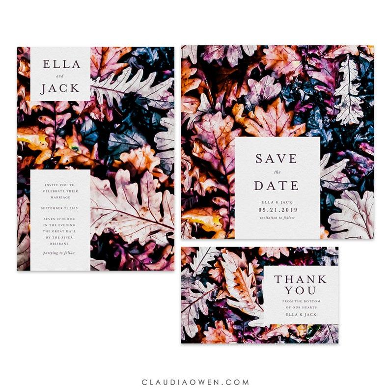 Fall Leaves Wedding Invitation Set, Save the Date, Thank You Card, Matching  Design, Fall Celebration, Autumn Colors, Fall Foliage, Leaf
