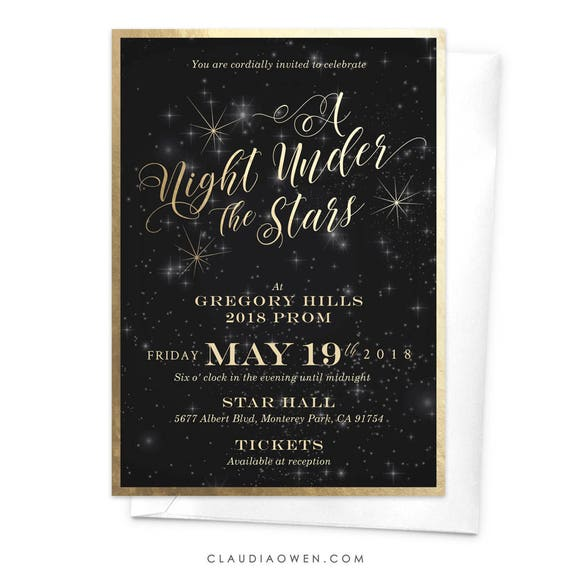 a night under the stars prom invitation starry night high etsy