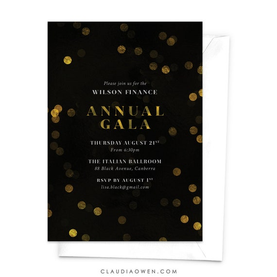 Annual Gala Invitation Corporate Event Elegant Invites Business Function Shimmering Bokeh Night Lights Gold Confetti Fancy Stylish