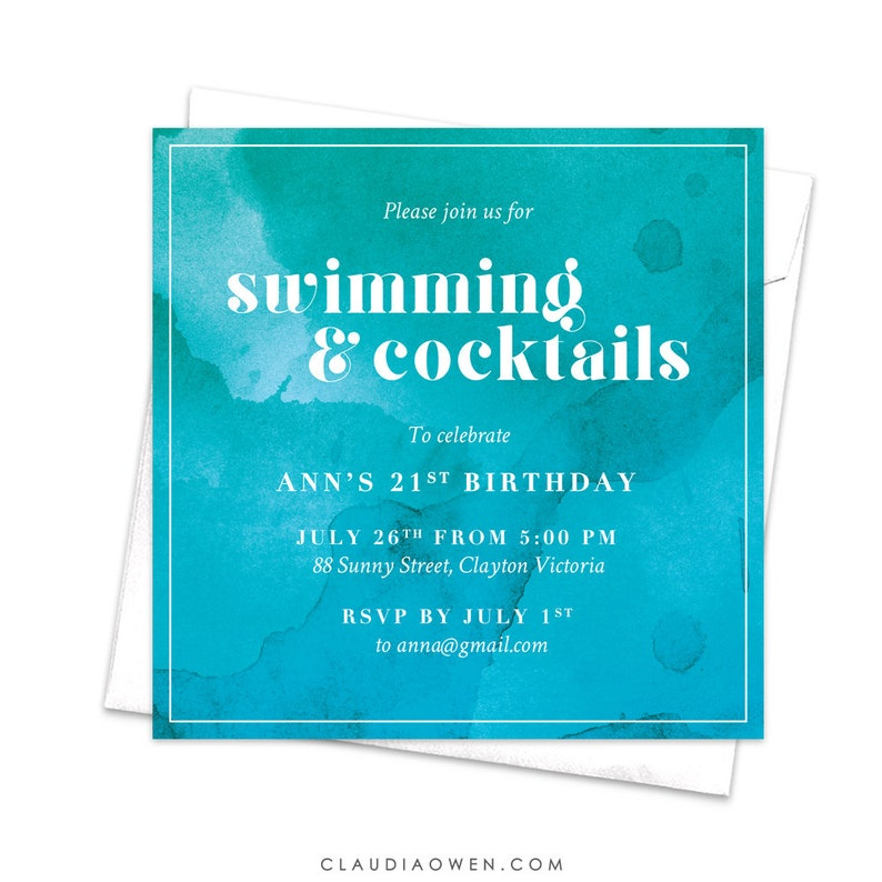Swimming And Cocktails Pool Party Invitation For Adults
