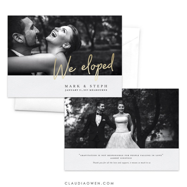 We Eloped Wedding Announcement Card Elopement Announcement Card Modern Photo Announcement Marriage Announcement Just Married