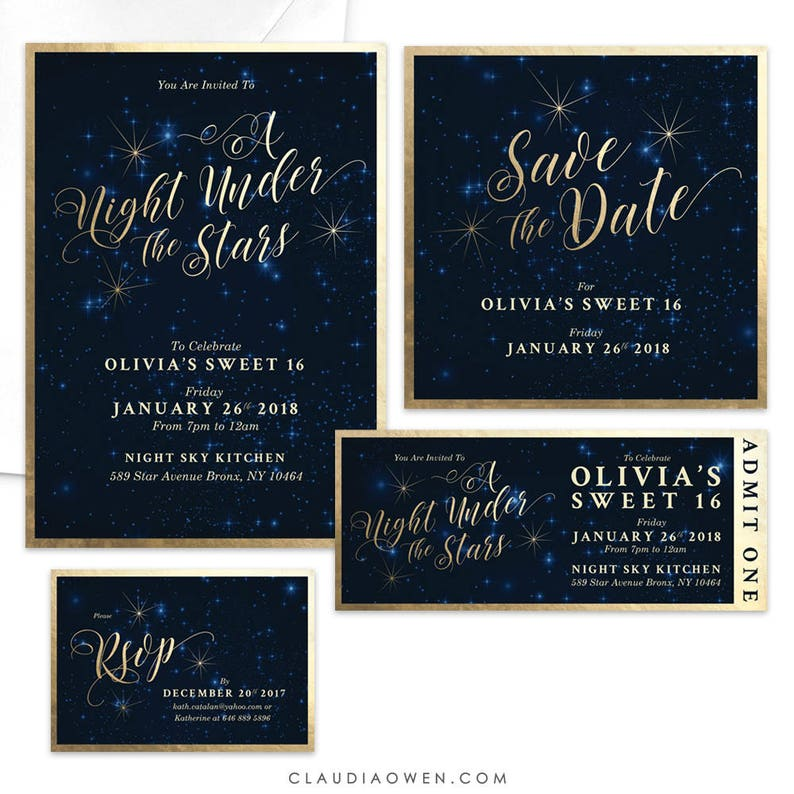 Sweet 16 Party Invitation A Night Under The Stars