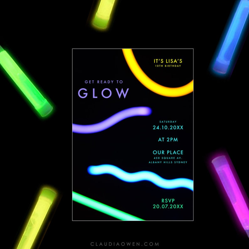 Lumo Party Neon Lights Neon Birthday Party Glow Party Invitation Colorful Invites Get Ready to Glow Birthday Party Glowing