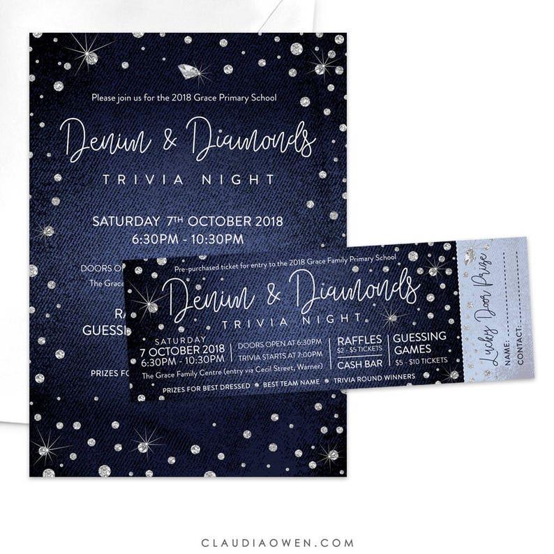 2a53550f23b72f Denim and Diamonds Invitation and Ticket Trivia Night