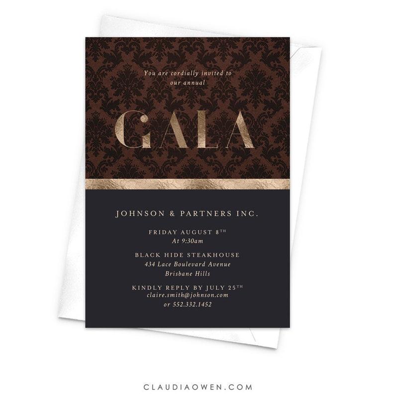 Gala Night Elegant Gala Invitation Awards Night Professional Event Business Invitation Work Function Corporate Event Damask Pattern