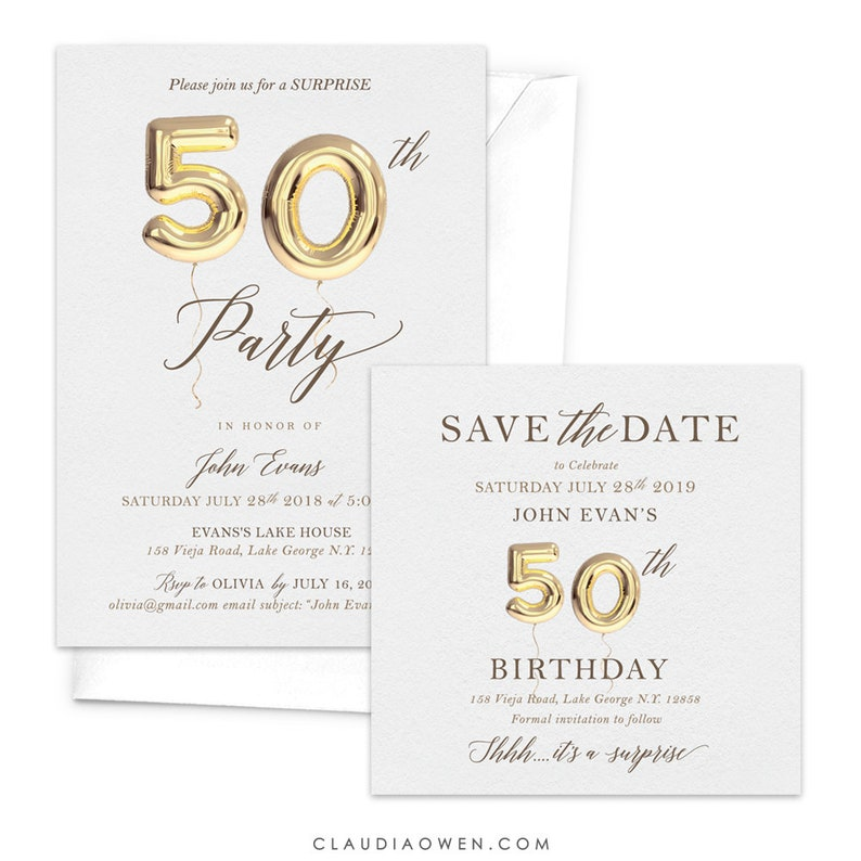 50th Birthday Invitation And Save The Date Card Fiftieth Anniversary 50th Balloon Matching Set Birthday Party Fiftieth 50th Invites