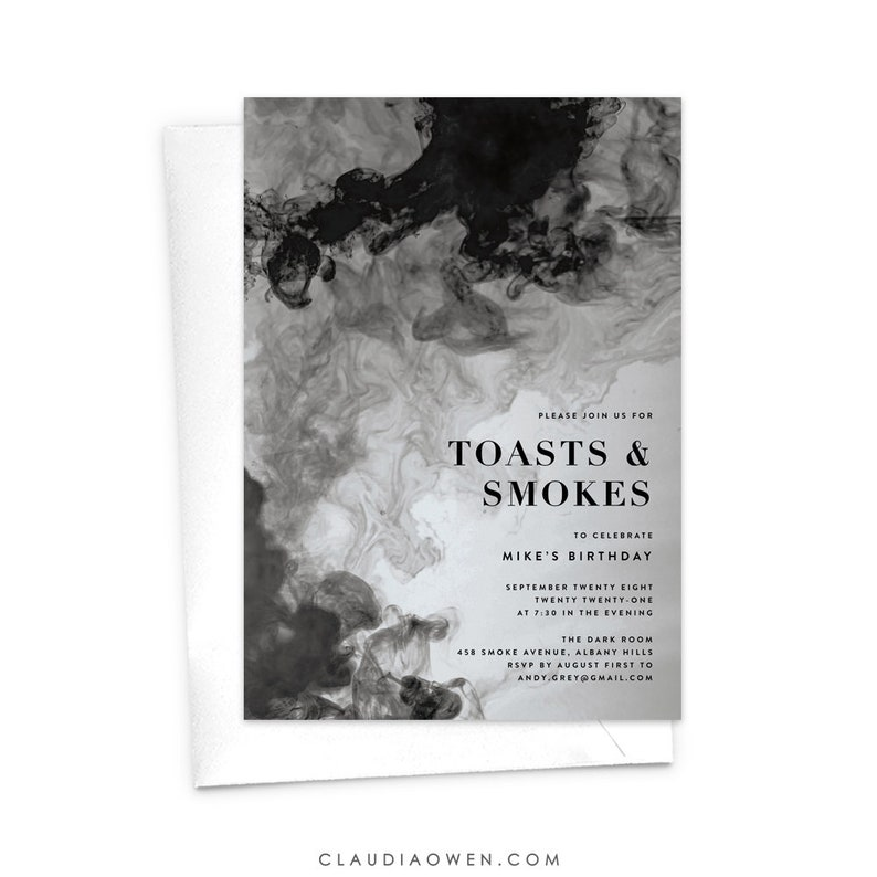 Gentlemen/'s Night Toasts and Cigars Men/'s Invitation Smokey Texture Masculine Bachelor Party Toasts and Smokes Invitation Smoke Ink