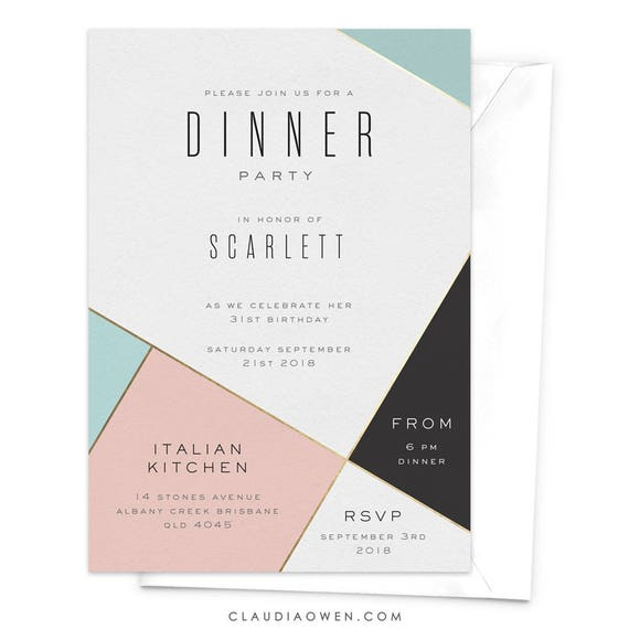 Wedding Invitations Business: Dinner Party Invitation Modern Invitation Corporate Event