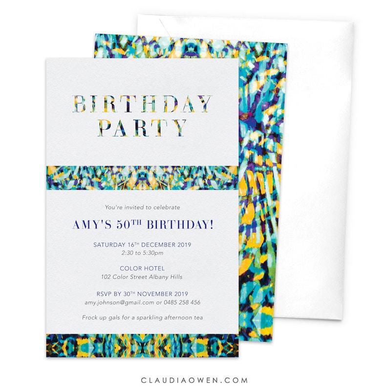 Birthday Party Colorful Invitation Birthday Invites 60th Birthday 40th Birthday Modern Pattern 30th Birthday 50th Birthday