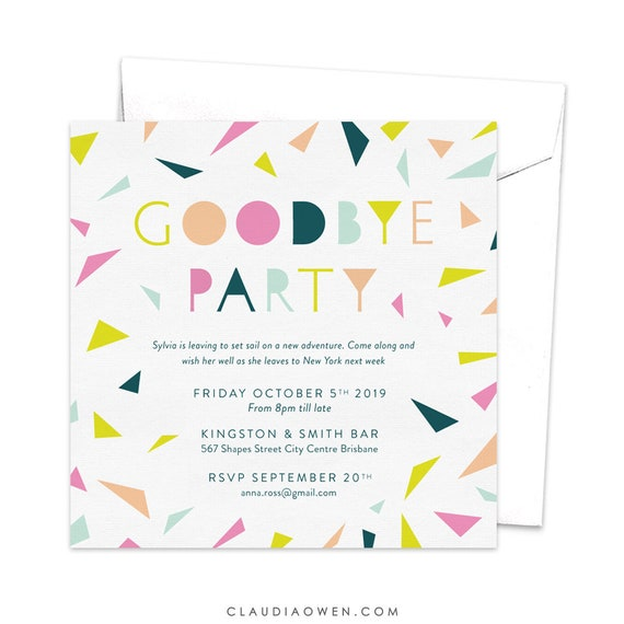 items similar to goodbye party invitation leaving party invitation farewell party invitation