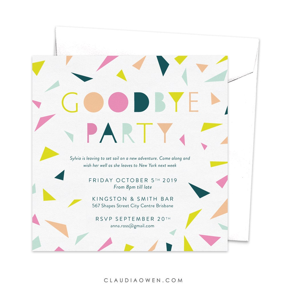 goodbye party invitation leaving party invitation farewell