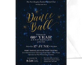 Dance Ball Invitation, Professional Anniversary Dinner, Work Function, Corporate Party, Starry Night Sky, Corporate Event