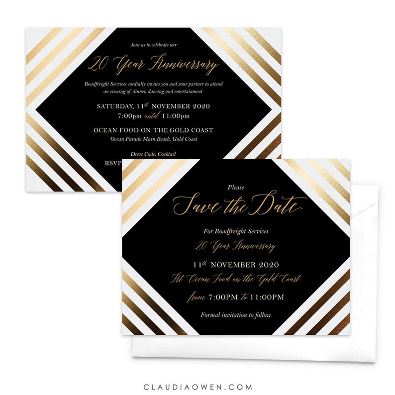 Anniversary Invitation Business Anniversary Company Anniversary Save The Date Card Corporate Event Work Function Elegant Matching Set