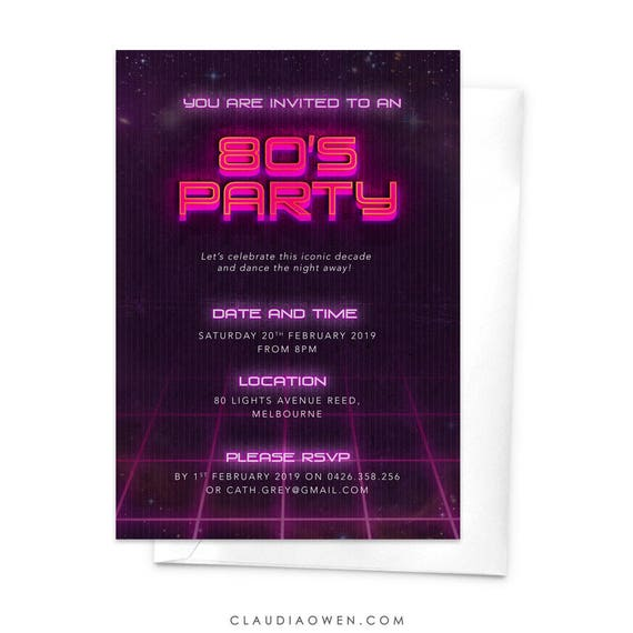 80s party 80s invitation eighties party invitation 80 s etsy