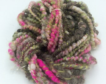 "Handspun Art Yarn, ""Wooded Garden"", 20 yards, corespun textured novelty yarn, bulky yarn, weaving yarn"