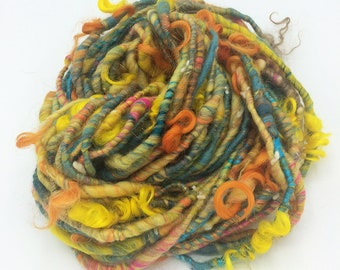 "Handspun Art Yarn, ""Carnival"", 28 yards, corespun textured novelty yarn, bulky yarn, weaving yarn"