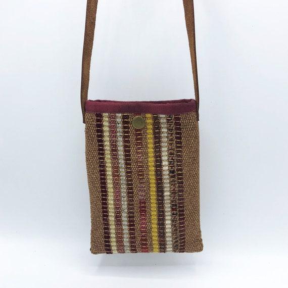 wool mini bag handwoven Cell phone bag Sakiori Small crossbody bag small purse