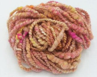 "Handspun Art Yarn, ""Sorbet II"", 20 yards, corespun textured novelty yarn, bulky yarn, weaving yarn"