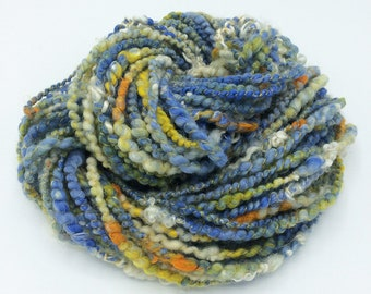 "Handspun Art Yarn, ""Starry Night"", 32 yards, corespun textured novelty yarn, bulky yarn, weaving yarn"