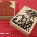 Catrina Card Stamp / Invoke Arts Collage Rubber Stamps
