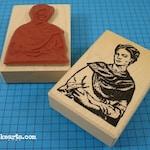 Frida Self-Portrait 2 Stamp / Invoke Arts Collage Rubber Stamps