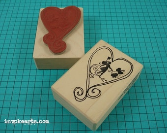 Faerie Heart Stamp  Invoke Arts Collage Rubber Stamps