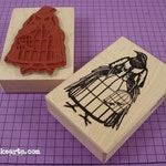 Bird Cage Bird Stamp / Invoke Arts Collage Rubber Stamps