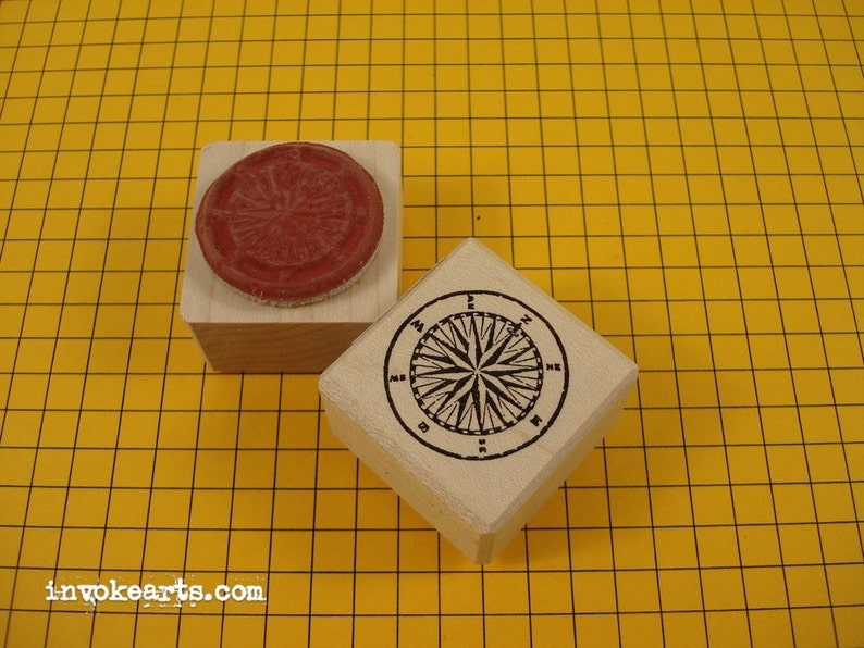 Small Compass Stamp/ Invoke Arts Collage Rubber Stamps image 0