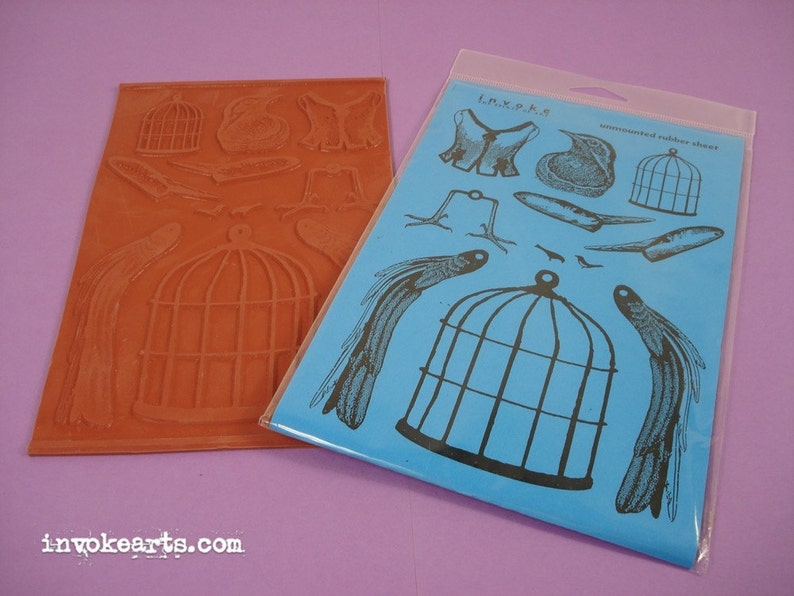Bird Cage Paper Doll / Invoke Arts Collage Rubber Stamps / image 0