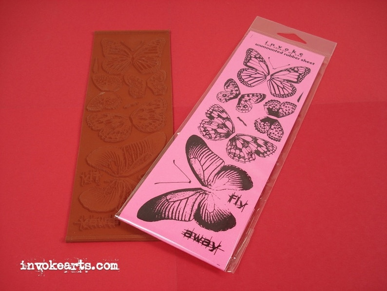 Butterfly Bits / Invoke Arts Collage Rubber Stamps / Unmounted image 0