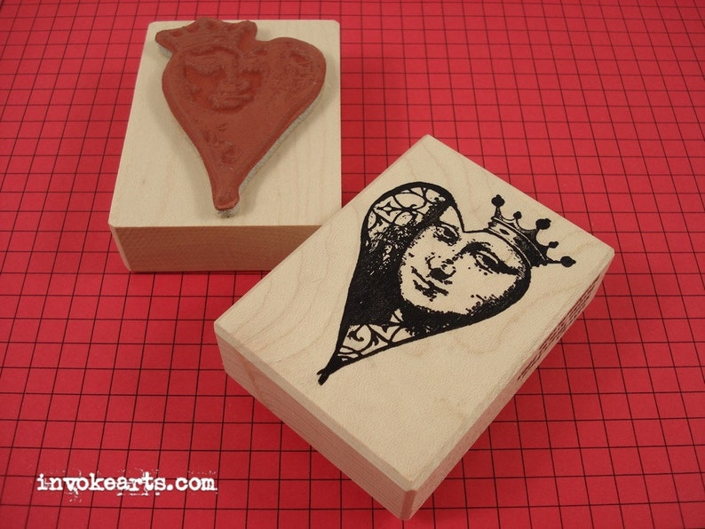 Mona Heart Face Stamp / Invoke Arts Collage Rubber Stamps image 0