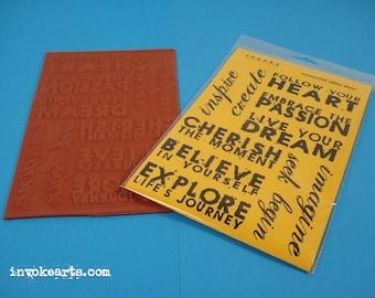 Artwords 2 / Invoke Arts Collage Rubber Stamps / Unmounted Stamp Set