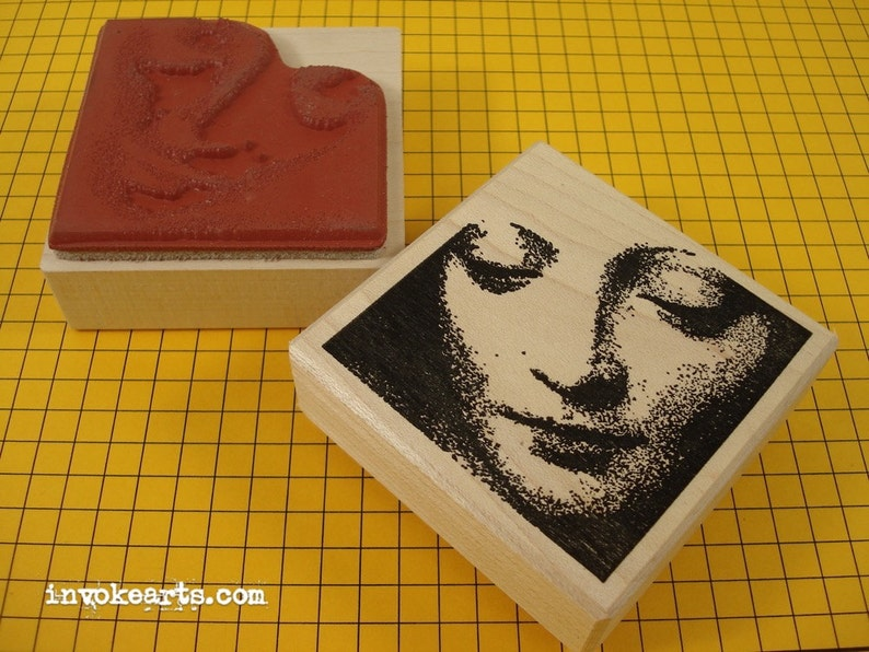 Mary Face Stamp / Invoke Arts Collage Rubber Stamps image 0