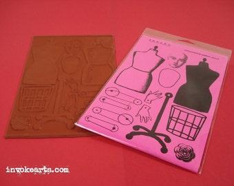 Dressform Paper Doll / Invoke Arts Collage Rubber Stamps / Unmounted Stamp Set