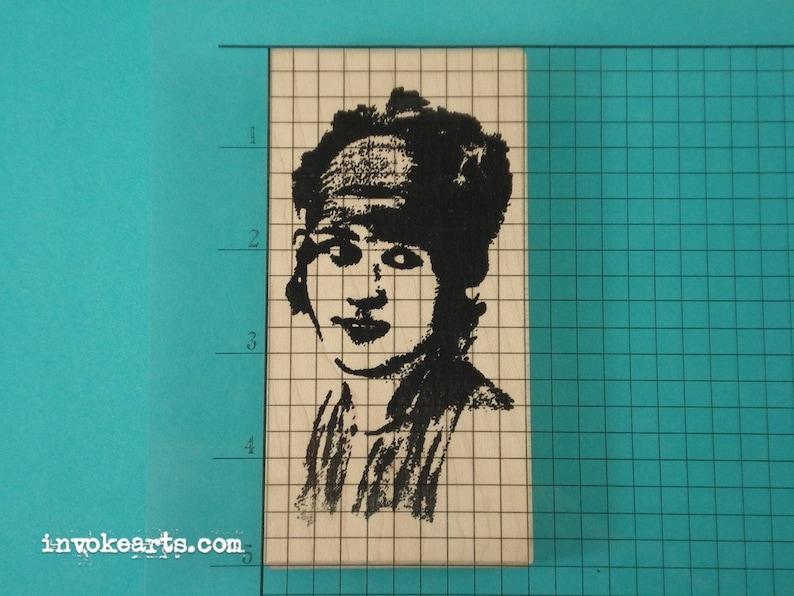 Isabelle Face Stamp  Invoke Arts Collage Rubber Stamps